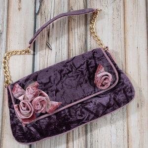 Handbags - Purple Velvet Chain Clutch Boho Handbag